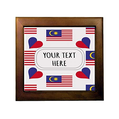 Ceramic Tile in Wood Frame Custom Malaysia Country Flag Heart Pattern ()