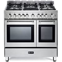 Verona VEFSGG365NDSS 36' Pro-Style Gas Range with 5 Sealed Burners 2 Turbo-Electric Convection Ovens Manual Clean Infrared Broiler Bell Timer and Storage Drawer in Stainless Steel