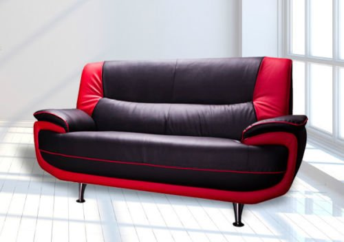 karol new palermo sofas 3 2 black white black red foam filled rh amazon co uk red and black leather sofa with price red and black leather sofa with price