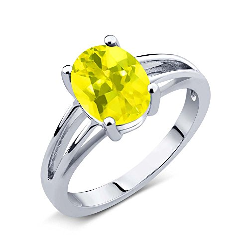 Gem Stone King 1.80 Ct Oval Canary Mystic Topaz 925 Sterling Silver Solitaire Ring
