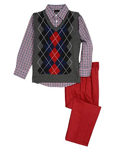 TFW Dresswear Little' Boys' Sweater Vest Set, Argyle Charcoal Heather, 2