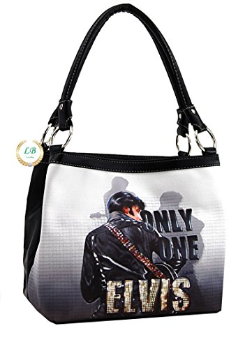 Elvis Presley Black Leather (Elvis Presley Faux Leather Medium Purse, Two Way Style, Only One (Black/White))