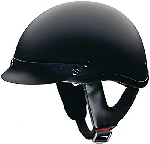 HCI Matte Black Motorcycle Half Helmet with Visor - ABS Shell 100-116 (Large)