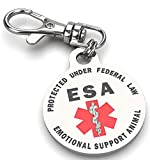 K9King Double Sided Emotional Support Animal (ESA) Red Medical Alert Symbol and Protected by Federal Law 1.25 inch ID Tag. Easily Switch Between Collars Harness and Vest.