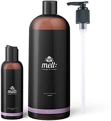Melt Sweet Almond Sensual Massage Oil 16oz + Bonus 4oz Travel Bottle (Empty) + 3 Caps + Free Couples Massage Tutorial. Relaxing, Therapeutic, Soft, Moisturizing Skin Therapy   Make Your Partner Melt
