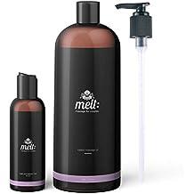 Melt Sweet Almond Sensual Massage Oil 16oz + Bonus 4oz Travel Bottle (Empty) + 3 Caps + Free Couples Massage Tutorial. Relaxing, Therapeutic, Soft, Moisturizing Skin Therapy | Make Your Partner Melt