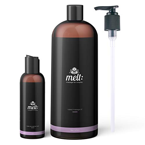 Melt Sweet Almond Sensual Massage Oil 16oz + Bonus 4oz Travel Bottle (Empty) + 3 Caps + Free Couples Massage Tutorial. Relaxing, Therapeutic, Soft, Moisturizing Skin Therapy | Make Your Partner Melt