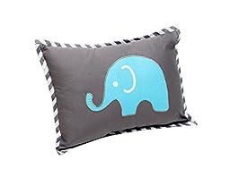 Bacati - Elephants Aqua/Lime/Grey Dec Pillow
