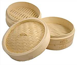 Asian Chinese Bamboo Steamer Two Tiers 8 Inches S-2222