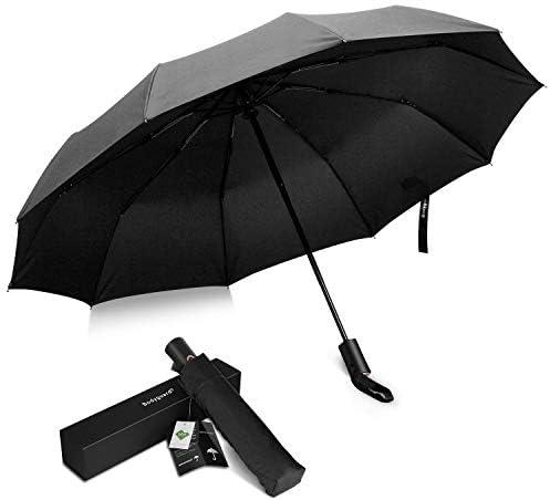 [해외]Bodyguard 접는 우산 210T 원단 Teflon 가공 초 발 수 고 강도 유리 섬유 10 뼈 내 모진 원터치 자동 개폐 사이즈 118cm 비가 겸용 우산 남성 심플 수납 파우치 선물 상자 (블랙) ... / Bodyguard Folding Umbrella 210T Fabric Teflon Processing U...