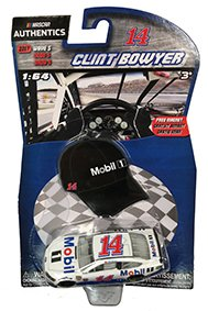 Clint Bowyer #14 Mobil One 1/64 Scale Diecast NASCAR Authentics Includes Mini Replica Hat Cap Magnet
