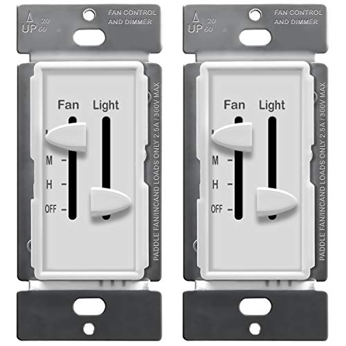 ENERLITES 3 Speed Ceiling Fan Control and Dimmer Light Switch, 2.5A Single Pole Light Fan Switch, 300W Incandescent Load, NO NEUTRAL WIRE REQUIRED, 17001-F3-W, White (2 Pack) (Ceiling Fan Light Wiring Dual Wall Switch)
