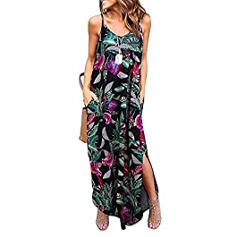CLOUSPO Maxi Dresses for Women Sleeveless V Neck Loose Adjustable Long Dress with Pocket Strappy Summer Dress for Women Beach Dress for Summer