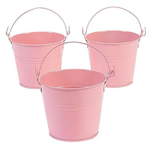 - 12 Pastel Pink Tinplate Pails