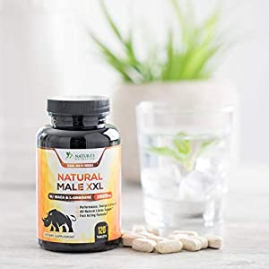 Natural Male XXL Pills - Enlargement Booster Increases Energy, Mood & Endurance - Natural Size, Stamina & Strength Booster - Best Performance Supplement for Men - 2 Month Supply - 120 Capsules natural male enchantment - 41TWqQ2vGuL - natural male enchantment
