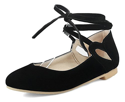 Aisun Womens Stylish Comfy Round Toe Low Cut Driving Cars Dressy Self Tie Ankle Wrap Flats Shoes Black aE1oZrP