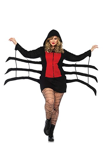 Leg Avenue Women's Plus Size Cozy Black Widow Spider Halloween Costume, Red, -
