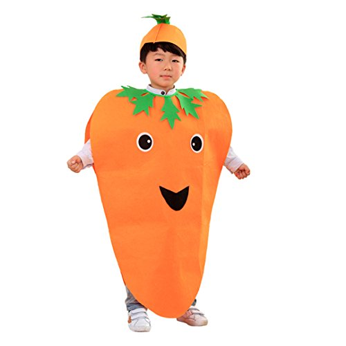 Multifit Kids Halloween Carrot Costume with Hat&Candy Bag Costume Accessory(Orange (Carrot Halloween Costumes)