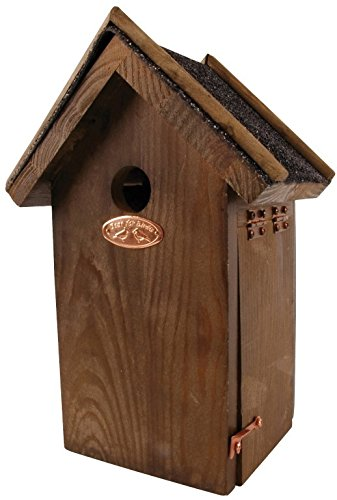 Esschert Design Chickadee Bird House-Antique Wash with Asphalt Roof, Brown NK02