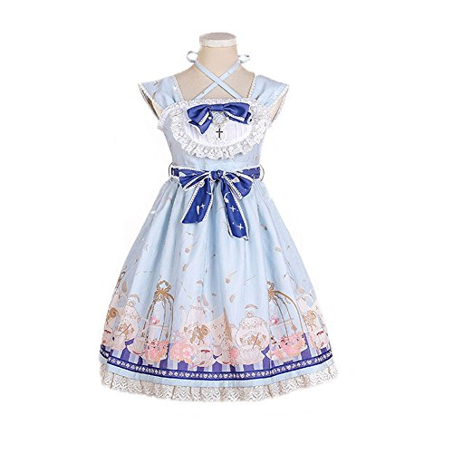 BLESSI Women's Sweet Tea Cup Printing Lolita Dress Polyester (S, Blue)
