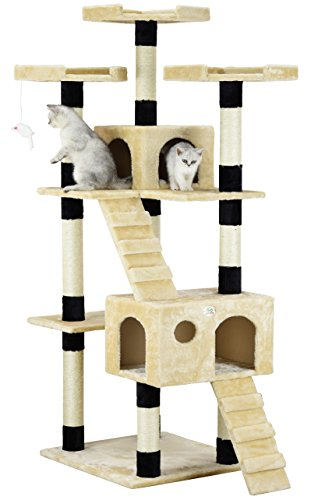 Go Pet Club Cat Tree, 33-Inch by 22-Inch by 72-Inch, Beige/Black