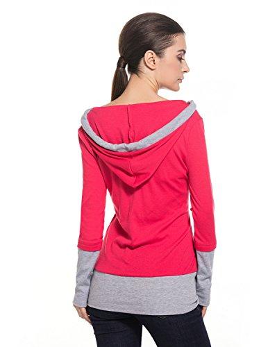 MODETREND Premamá Sudaderas con Capucha para Mujeres Embarazo Mama Sweatshirt Encapuchada Blusas Hoodie Camiseta de Maternidad Rosa