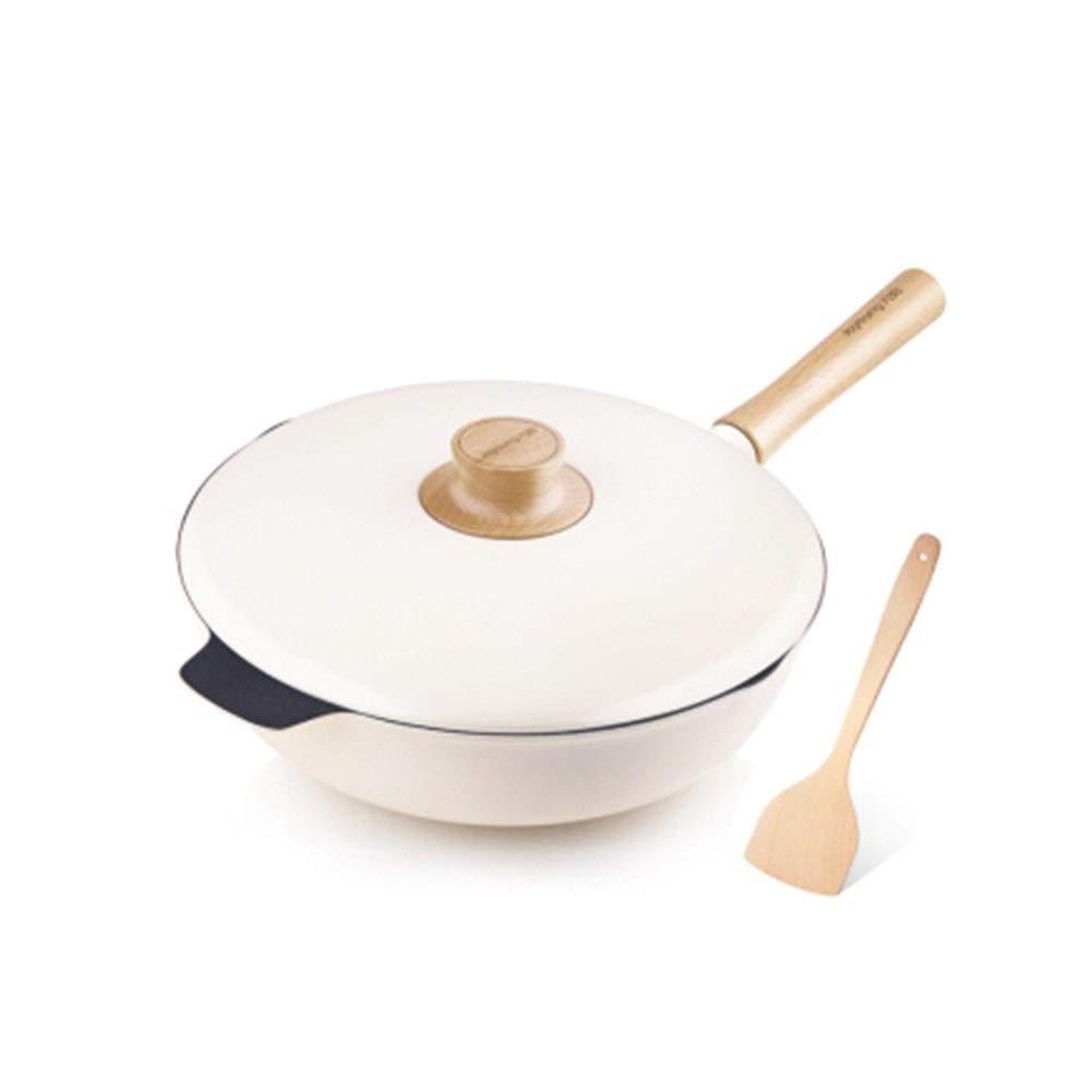 TONGBOSHI 29cm Wok Non-stick Pan Light Luxury Pot Induction Cooker Universal Pot, Durable product (Color : Natural)