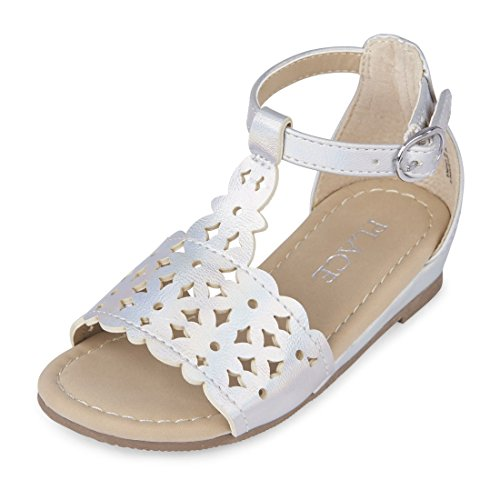 The Children's Place Girls' TG Laser Cut per Sandal, Silver, TDDLR 4 Medium US Infant by The Children's Place (Image #1)
