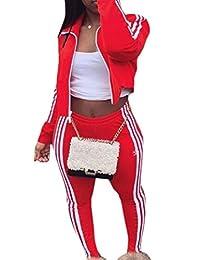 xiaohuoban Women Tracksuit Set Stripe 2 Piece Long Sleeve Jogging Zipper Sweatsuit Sets