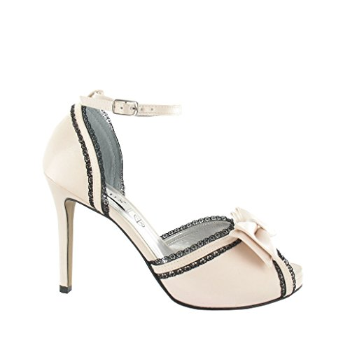 Ladies Platform Peep Toe Sandal with Lace and Textile Bow, ideal for Party, Prom Baby Pink