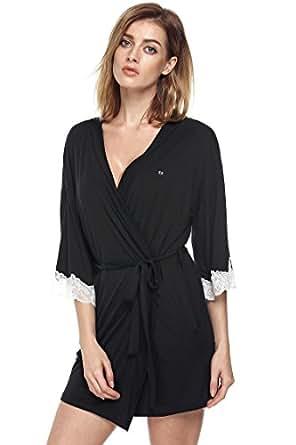 Ekouaer Spa Robe Womens Sleepwear Nightgown Nightwear Lingerie (Black, XS)
