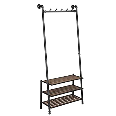"VASAGLE Coat Rack with Shoe Rack, Industrial Pipe Style Hall Tree, Angled Coat Stand for Hallway Entryway, Standing Against The Wall, Bolt Hooks and Slat Shelves, Stable Metal Frame, Black URCR75BX - INDUSTRIAL STYLE IS IN! Angled black pipes, slat shelves, bolt hooks—a hall tree overflowing with industrial accents makes a unique staple in your hallway while providing a convenient drop-off spot on your way in or out PROP AGAINST THE WALL: A blank wall is all it needs to create an attractive display, and the jackets you throw on it will complete its standout look; prop it against the wall for a stable stand, or attach it to the wall with the included hardware FROM HEAD TO TOE: With a 69.7"" high slanted design tying the whole stand together, it packs plenty of storage without taking too much space, catching hats and coats on the 5 hooks and hosting shoes on the 3 shelves - hall-trees, entryway-furniture-decor, entryway-laundry-room - 41TWsRgUENL. SS400  -"