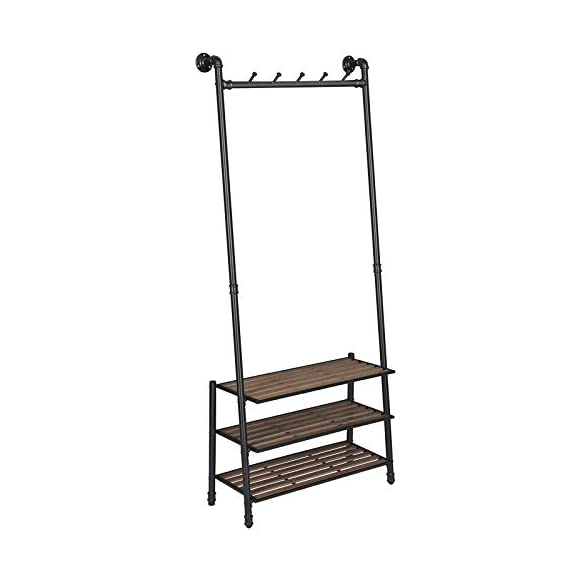 "VASAGLE Coat Rack with Shoe Rack, Industrial Pipe Style Hall Tree, Angled Coat Stand for Hallway Entryway, Standing Against The Wall, Bolt Hooks and Slat Shelves, Stable Metal Frame, Black URCR75BX - INDUSTRIAL STYLE IS IN! Angled black pipes, slat shelves, bolt hooks-a hall tree overflowing with industrial accents makes a unique staple in your hallway while providing a convenient drop-off spot on your way in or out PROP AGAINST THE WALL: A blank wall is all it needs to create an attractive display, and the jackets you throw on it will complete its standout look; prop it against the wall for a stable stand, or attach it to the wall with the included hardware FROM HEAD TO TOE: With a 69.7"" high slanted design tying the whole stand together, it packs plenty of storage without taking too much space, catching hats and coats on the 5 hooks and hosting shoes on the 3 shelves - hall-trees, entryway-furniture-decor, entryway-laundry-room - 41TWsRgUENL. SS570  -"
