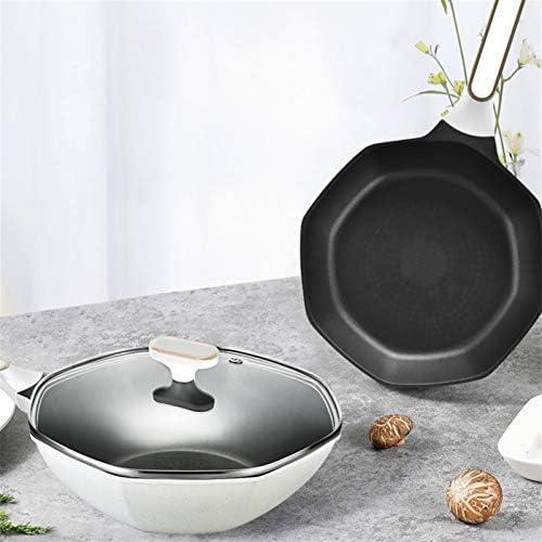 Poêle antiadhésive Ménage Maifan Pierre antiadhésif Frying Pan, Star Anise Wok Cooking Pot, Sans huile fumée gaz et cuisinière à induction Batterie de cuisine.
