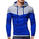 kaifongfu Men Outwear Top Blouse Mens Long Sleeve Hooded Sweatshirt for Autumn WinterBlueL