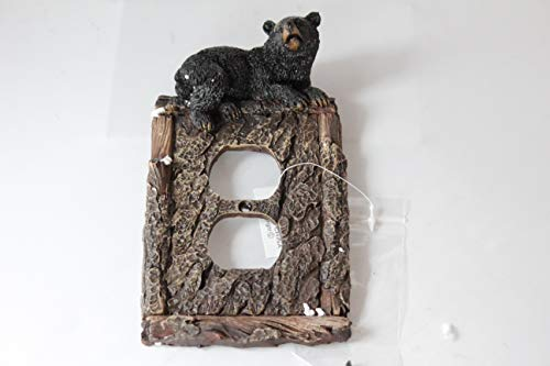 Black Bear Faux Wood Tree Bark Double Light Switch Cover Plate Cabin Lodge Deco.