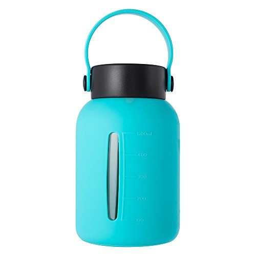 MIU COLOR Large Glass Water Bottle - 30oz Wide Mouth with Silicone Sleeve & Stainless Steel Lid Insert Borosilicate Glass Bottles for Home Sports and Outdoor (Green)
