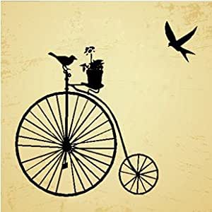 Dailinming vintage bicycle wall sticker living for 70 bike decoration
