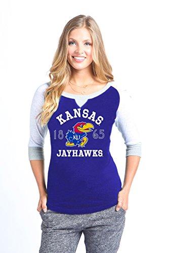 Wishbone NCAA Kansas Jayhawks Color Block Baseball Tee, X-Large, Blue ()