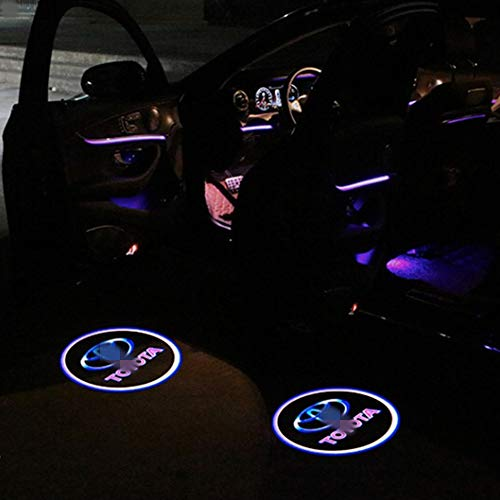 Car Door LED Logo Projector Ghost Shadow Welcome Lamp Logo Light Courtesy Step Lights Ground Lamp For Toyota 4 Runner Avalon Camry Highlander Land Cruiser Prius Sequoia Sienna Tundra Venza (2 Pack)