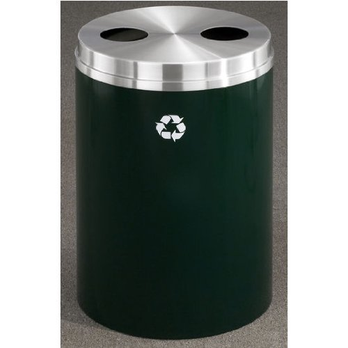 Recycle Receptacle Glaro (Glaro RecyclePro Matching PC Cover Dual Purpose Recycle Receptacle w/ Glass/Plastic Message in Espresso Brown Finish, Shown in Hunter Green with Many Other Finishes Available)