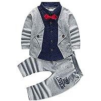 2pcs Baby Boy Dress Clothes Toddler Outfits Infant Tuxedo Formal Suits Set Shirt + Pants Grey