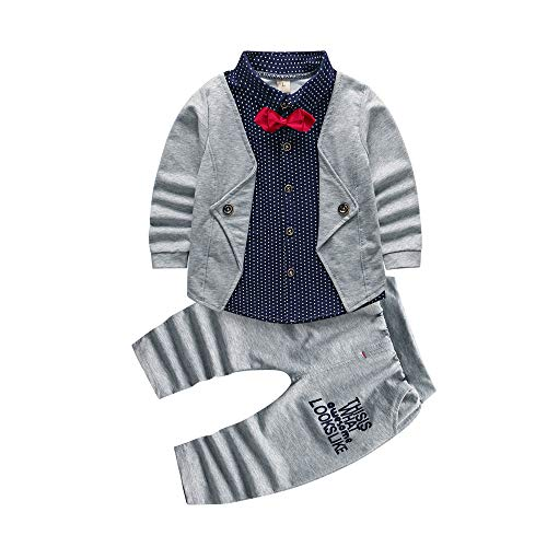 6a08ede7b8e50 Click to enlarge. HomeBaby-Toddler Clothing 2pcs Baby Boy Dress Clothes  Toddler Outfits Infant Tuxedo Formal Suits Set Shirt + Pants Grey