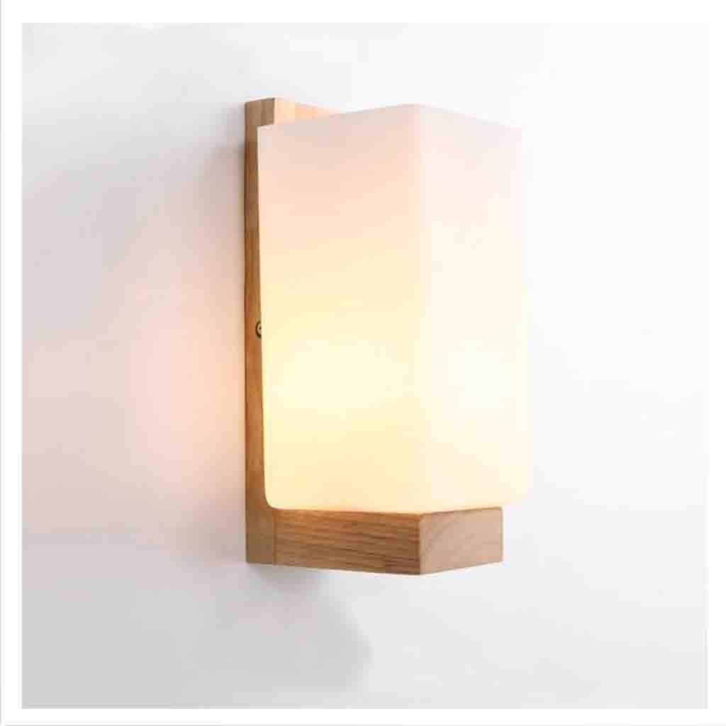 Chinesische Einfache Massivholz Wandleuchte Led modernes Schlafzimmer Gang Flur Flur Flur hölzerne Wand Lampe am Bett Wohnzimmer Beleuchtung Neue (Farbe  weiß) 88bf96