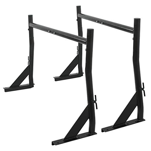 allgoodsdelight365 Adjustable Black Heavy Duty 650Lb Construction Rack Truck Ladder Racks Pair