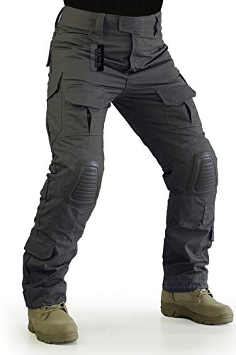ZAPT Tactical Pants with Knee Pads Airsoft Camping Hiking Hunting BDU Ripstop Combat Pants 13 Kinds Army Camo Uniform Military Trousers (Grey, XL38) (Grey Military Uniforms)