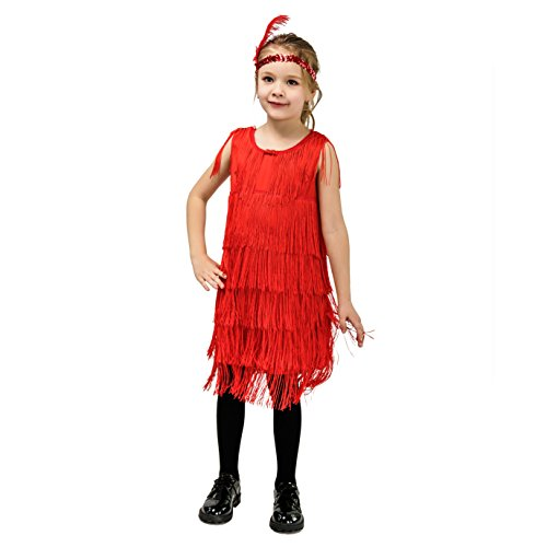 Kids Girl's Fashion Flapper Satin Dress Costume (M, Red) -
