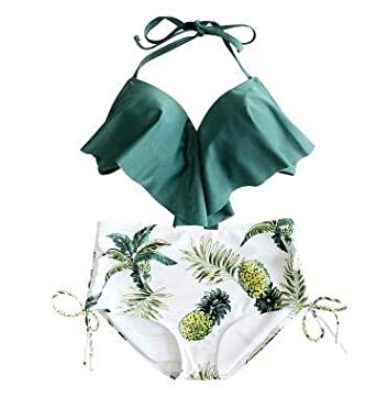 196681c050 HITSAN INCORPORATION Women High Waisted Bikini Sets Kawaii Pineapple  Printed Beach Swimwear Bathing Suit Summer Halter