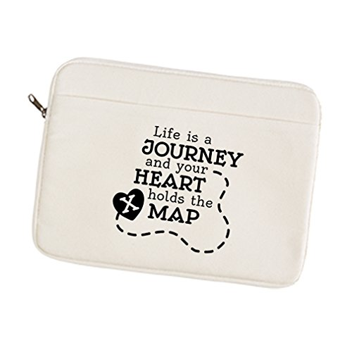 Canvas Laptop/Tablet Sleeve Case Life Journey And Your Heart Holds The Map 12