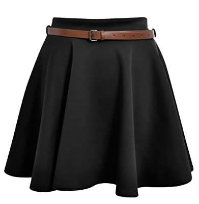 Cima Mode Women's Skater Skirt Flared Mini Frankie Belted Short Dress